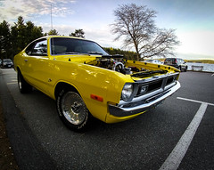 Muscle #11: 72 Dodge Dart Demon (The Yellow Demon) (Rabican7) Tags: car dodge dart demon 1972dodgedartdemon 1972dodgedart automotive americanmuscle vintage retro musclecar lake newhampshire yellow sky tree carburator wideangle power v8 newengland america classiccar