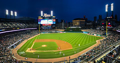 Panoramic view of Comerica Park at Night for Washington Nationals vs Detroit Tigers - Detroit MI (mbell1975) Tags: detroit michigan unitedstatesofamerica panoramic view comerica park night for washington nationals vs tigers mi us usa american america mlb baseball stadium field arena evening pano panorama city skyline office buildings towers