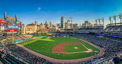 Panoramic view of Comerica Park for Washington Nationals vs Detroit Tigers - Detroit MI (mbell1975) Tags: detroit michigan unitedstatesofamerica panoramic view comerica park for washington nationals vs tigers mi us usa american america mlb baseball stadium field arena pano panorama city skyline office buildings towers