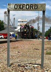 Happy 4th of July from Oxford, Iowa (1 of 3) (Lights in my hometown) Tags: oxford johnsoncounty iowa railroad station sign iowainterstate iais qj 6988 chinese steam locomotive excursion 4thofjuly independenceday ©sharidayton