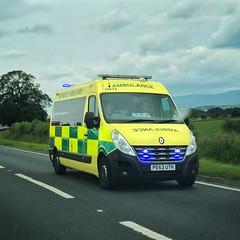 Renault Master on the way to help (barronr) Tags: england 911 ambulance cumbria emergency 112 ems 999 emergencymedicalservices northwestambulanceservice transport vehicle bluelights