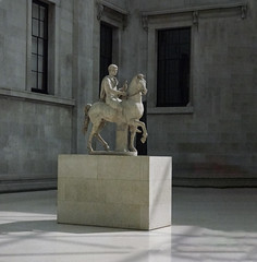 The Roman Rider (Steve Taylor (Photography)) Tags: roman marble statue youth horse inner great courtyard britishmuseum plinth art sculpture carving museum muted stone man corner