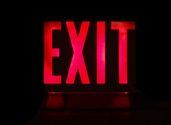 Exit (DDM Imaging) Tags: sign signs text red light abstract abstracts black color monotone monocolor camera sony hx50v exposure stop