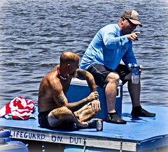 Lifeguard On Duty (LarryJay99 ) Tags: shirtless water beads legs florida bald drinking tattoos fourthofjuly seated barge sittingpretty crossedlegs delraybeach tatts lakeworth july4th2019 barechest baldhead