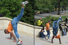 Acrobat who came down the stairs on his hands (pivapao's citylife flavors) Tags: paris france trocadero streetartist