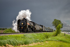 IAIS 6988 - Annawan, IL (Wheelnrail) Tags: qj iais iowa interstate annawan illinois steam excursion shortline chinease locomotive rail road railroad spring storm cell backlit passenger rural il