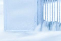 Beeston Weir Safety Gate (Julian Barker) Tags: beeston weir safety gate blue tones cool high key abstract texture oddscape bars door trent river rylands nottingham nottinghamshire east midlands uk great britain europe flow flowing long exposure water smooth canon dslr 5d mkii 75300 julian barker