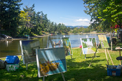Canada Day on the Gorge Inlet (kevin.boyd) Tags: paintings canvas art easel canoe gorge inlet waterway victoria bc canada day water sun sky grass shadow