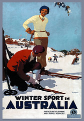 Winter Sport in Australia (mpt.1607) Tags: art poster picture image photograph print graphic antiquity vintage bygone old classic historical nostalgic period yesteryear reminiscent archive travel journey trip voyage holiday portrait landscape australia mountains hills snow man woman people snowballs fun skis skiing winter sport shipping travelagencies victoria chalet highlands nationalpark fashionable stylish scenic jamesnorthfield mountbuffalo hats jumpers gloves scarves