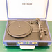 Crosley blue portable record player at the Jams Music & Design Hotel in Munich