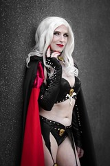 Lady Death cosplayer at ExCeL London's MCM Comic Con, May 2019 (Gordon.A) Tags: london docklands excel excellondonexhibitioncentre mcm moviecomicmedia comic con convention mcm2019 may 2019 festival event creative costume design style lifestyle culture subculture pretty woman lady death character cosplay cosplayer people face model pose posed posing outdoor outdoors outside wall naturallight colour colours color colors amateur portrait portraiture photography digital canon eos 750d sigma sigma50100mmf18dc