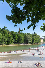 People, couples and families use the Isar river as public outdoor swimming pool and sunbathe on the stony riverbed on a hot German summer day in Munich (verchmarco) Tags: germany flowfest munich münchen bayern deutschland beach strand tree baum water wasser summer sommer seashore travel reise people menschen recreation erholung park landscape landschaft sky himmel lake see sea meer ocean ozean vacation urlaub boat boot group gruppe river fluss leisure freizeit girl mädchen2019 2020 2021 2022 2023 2024 2025 2026 2027 2028 2029 2030 dawn colour outside bar village countryside eos mono bench ice