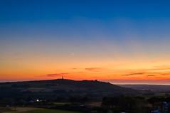 Crescent Moon Sunset (Cornish Reflections) Tags: cornwall england uk cornish southwest drone dji mavic mavic2 mavic2pro carnbrea monument castle sea sun sky orange moon crescent
