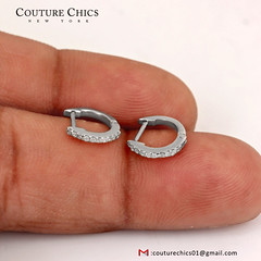 Solid 14k White Gold Diamond Pave Huggie Hoop Earrings Handmade Fine Jewelry NEW (couturechics.facebook1) Tags: solid 14k white gold diamond pave huggie hoop earrings handmade fine jewelry new
