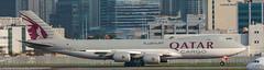 Qatar 747 Cargo leaving HKG (Alaskan Dude) Tags: travel asia hongkong hongkongairport planespotting planewatching aircraft airplane airplanes airlines aviation