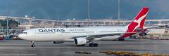 Qantas A-330 at HKG (Alaskan Dude) Tags: travel asia hongkong hongkongairport planespotting planewatching aircraft airplane airplanes airlines aviation