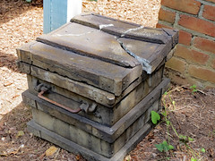 Box Display. (dccradio) Tags: middletown md maryand frederickcounty outdoor outdoors outside surreybrooke surreybrookegardens june wednesday summer summertime wednesdaymorning morning goodmorning canon powershot elph 520hs statue box brokenbox brick bricks ground