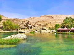 a drop in the heat (ISO 69) Tags: wadi wadibanichalid chalid oase desert wüste water wasser drop oasis sand stone bath