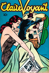 Claire Voyant (1946), cover by George Muhlfield (gameraboy) Tags: clairevoyant 1946 cover georgemuhlfield 1940s comics comicbook comicbookart art illustration vintage pinup