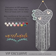 {moss&mink} VIP Exclusive GIFT - 2k Members (Cielo {moss&mink}) Tags: heart lace dreamcatcher feminine decor girly flower flowers butterfly butterflies wall hanging decorate virtual moss mink mossmink second life secondlife pin boho chic shabby