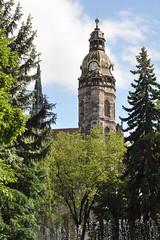 Between city park and cathedral (Thorsten Reiprich) Tags: summer europe slovensko day sunshine city urban architecture religion catholic church hlavná ulica dóm alžbety elizabeth