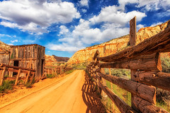 Old Fences (KPortin) Tags: capitolreefnationalpark fence road hff clouds cliffs