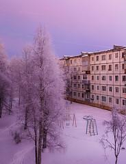 Серенивый закат на детской площадке во дворе, север, Северодвинск (Nanaccept) Tags: сиреневый двор дом белый зима детская площадка