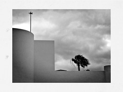 Cloudy Morning-Before A Sunny Day (RadarO´Reilly) Tags: sky bw spain noiretblanc cloudy zwartwit lanzarote palmtree sw blanconegro puertodelcarmen monochrohme iphone hipsta hipstamatic