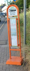 It's a Dolly Stop . (AndrewHA's) Tags: hertfordshire bishopsstortford bus stop dollystop temporary orange