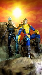 Storm and Forge (custombase) Tags: marvellegends xmen figures storm forge desert diorama toyphotography