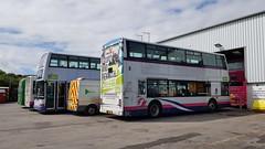 Inside Summercourt depot in Newquay (DGPhotography1999) Tags: 33170 lr02lyk doubledeckerbus dennistrident firstbus firstgroup firstkernow summercourtdepot newquay alexanderdennisenviro200 singledeckbus