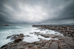 A stormy afternoon in the West Coast Town of Yzerfontein in South Africa (Christine's Phillips (Christine's observations) - ) Tags: green yzerfontein southafrica storm cloud waves dramatic harbour dolosse long exposure christine phillips western cape