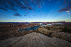 Looking out over Lake Powell and Arizona (CraDorPhoto) Tags: canon5dsr landscape nature outdoors outside sky blue clouds water lake mountains valley buttes arizona usa lakepowell utah