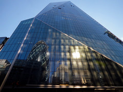 Where is That Throwing Stone? (Steve Taylor (Photography)) Tags: blue brown building green window architecture gherkin uk greatbritain england reflection london glass sunshine unitedkingdom sunny gb peoplewholiveinglasshousesshouldntthrowstones