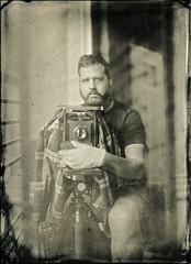 Foggy Dead-Eyed Self Portrait (Blurmageddon) Tags: 5x7 largeformat senecaimprovedview wetplatecollodion newguycollodion nicksdeveloper blackspots epsonv700