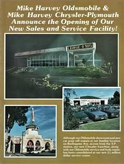 Mike Harvey Chrysler-Plymouth & Oldsmobile, Burlingame CA, 1983 (aldenjewell) Tags: mike harvey chrysler plymouth oldsmobile dealership showroom burlingame ca california