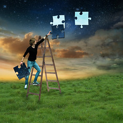 Pieces of Night (Cat Girl 007) Tags: concept creative dream dreamy fairytale fantasy holding imagination jigsaw landscape missing night person piece puzzle sky supernatural surreal twilight whimsical