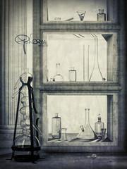 workshop-study2 (Ephorea) Tags: alchemy workshop interior shelf decoration light monochrome glass texture art study stil life laboratory