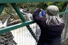 Photo of Day 3 Aberdeen to Alyth. (Jill salmon watching!)