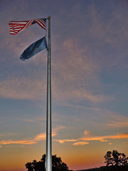 Old Glory at Sunset (George Neat) Tags: sunset colors sun american flag oldglory oak hollow park irwin north huntingdon westmoreland county pa pennsylvania laurelhighlands outside scenic scenery landscape georgeneat patriotportraits neatroadtrips clouds