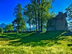 Ruins of Auerburg fortress in Oberaudorf, Bavaria, Germany (UweBKK (α 77 on )) Tags: bavaria bayern germany deutschland europe europa iphone oberaudorf ruins ancient history historical fortress burg auerburg tree grass green hill