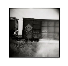 end of the line (tomusan) Tags: holga film bw blackandwhite train sign end road square