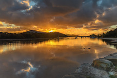 Sunrise and Atmosphere Bay Waterscape (Merrillie) Tags: daybreak woywoy sunrise nature dawn reflections boats newsouthwales clouds earlymorning nsw brisbanewater waterfront bay morning australia coastal landscape sky waterscape atmosphere centralcoast water outdoors