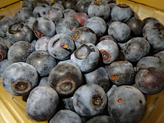 Blueberries In A Container. (dccradio) Tags: lumberton nc northcarolina robesoncounty indoor indoors inside berry berries freshberries blueberries stem stems fruit snack food eat healthy july summer summertime evening goodevening friday fridayevening canon powershot elph 520hs