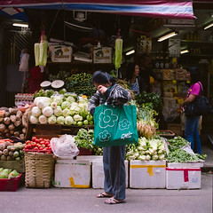 Big Bag Vegetables (RunnyInHongKong) Tags: hollywoodroad nikoncoolscan9000 fujipro160c central hasselblad500cm 6x6 hongkong carlzeiss80mmf28 film mediumformat square negativelabpro vuescan