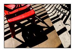 that chair (Armin Fuchs) Tags: arminfuchs bangkok thailand sathorn chair light shadows diagonal red stairs plastic