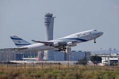El Al B744, 4X-ELA, TLV (with Ben Gurion tower) (LLBG Spotter) Tags: elal 4xela tlv aircraft b747 airline llbg