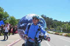 Earth Bike at the Fourth of July Parade (fabola) Tags: art bike clean climate activist cleantransportation climateaction artfloat climateartexhibit life green design community earth marin politics parade fabrice transportation environment sustainable sustainability larkspur cortemadera greenchange earthbike makerart