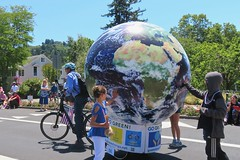 Earth Bike at the Fourth of July Parade (fabola) Tags: art bike clean climate activist cleantransportation artfloat life green design community earth marin politics parade fabrice transportation environment sustainable sustainability larkspur cortemadera climateaction greenchange earthbike makerart climateartexhibit