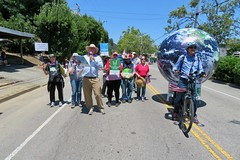 Earth Bike at the Fourth of July Parade (fabola) Tags: art bike clean climate activist cleantransportation climateaction artfloat life green electric design community earth marin politics parade fabrice transportation environment sustainable sustainability larkspur cortemadera ebike electricbike newwheel greenchange earthbike makerart climateartexhibit